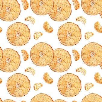 De mandarijn sneed naadloos die patroon op witte achtergrond wordt geïsoleerd. tropisch patroon. zomervakantie. aquarel illustratie.