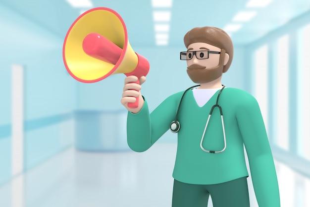 De mannelijke arts in het medische binnenlandse ziekenhuis schreeuwt, schreeuwt, spreekt megafoon. cartoon persoon. 3d-weergave.