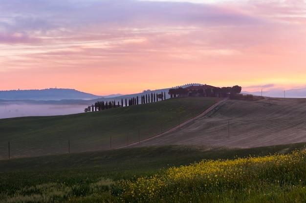 De mening van de ochtendmist over boerderij in toscanië, italië