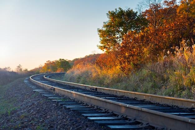 De mening van de railoadclose-up in platteland bij de herfstseizoen