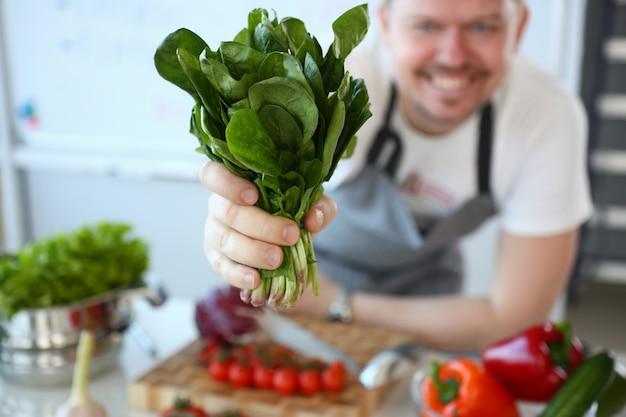 De mens houdt nuttige bos van spinazie in hand