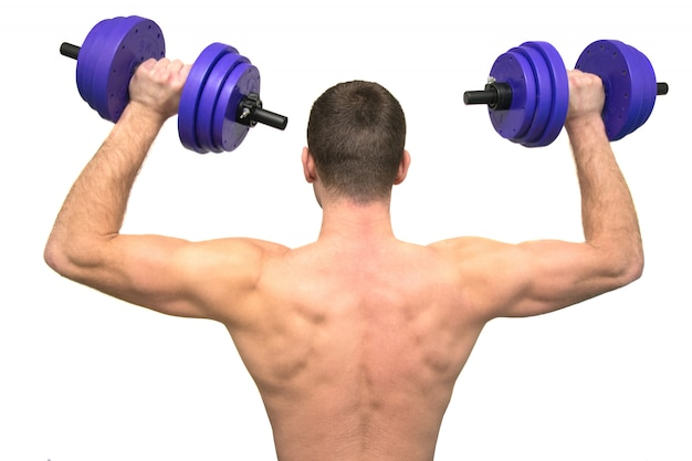 De mens houdt zich bezig met fitness, uitzicht vanaf de achterkant, geïsoleerd