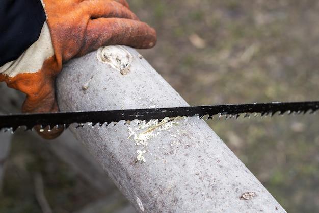 De mens snijdt hout met een handzaag