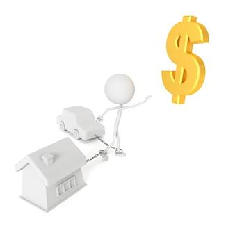 De mensen modelleren geketend met huis en auto in debiteurenconcept. 3d-weergave