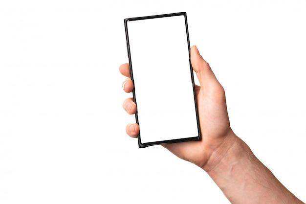 De mensen overhandigen het houden van nieuwe moderne smartphone mobiele telefoon met het lege die vertoningsscherm, op witte achtergrond wordt geïsoleerd