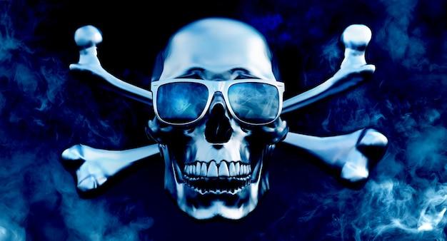 De metaal menselijke schedels en gekruiste knekels met zonnebril op 3d rookachtergrond, geven terug,