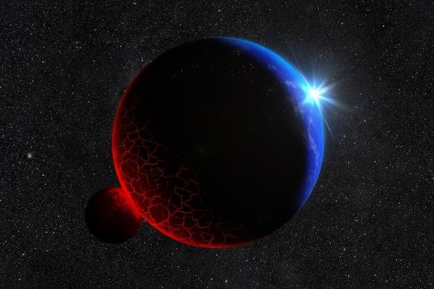 De meteoriet raakte de planeet met brandende lava en scheuren