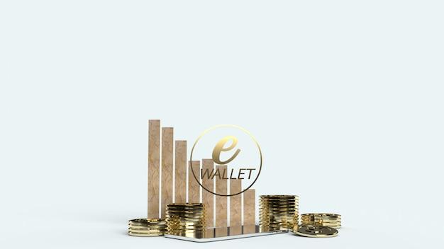 De mobiele symbool e portemonnee en gouden munten 3d-rendering voor e business concept.
