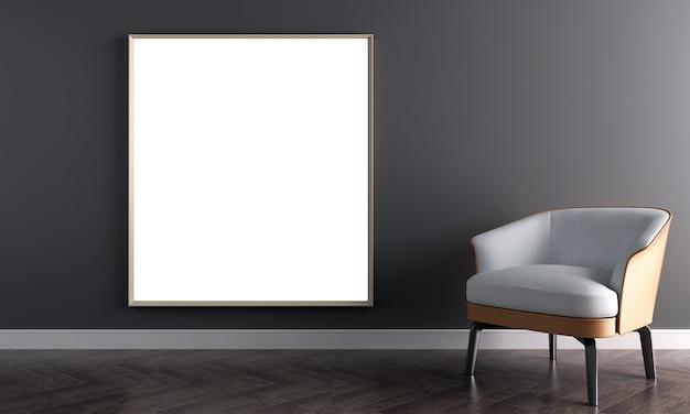De mock up canvas frame en meubeldesign in modern interieur en beige muur achtergrond, zwarte woonkamer, scandinavische stijl, 3d render, 3d illustratie