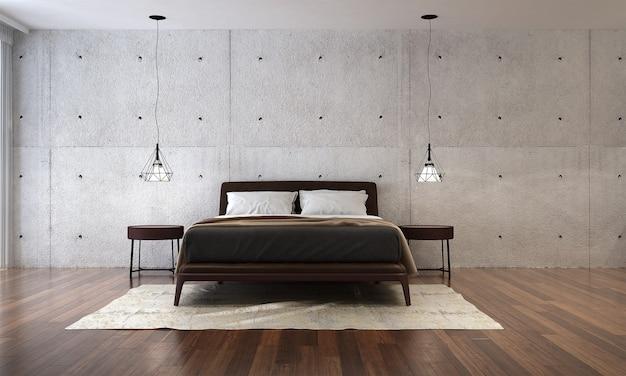 De mock-up decoratie interieur van slaapkamer en betonnen muur