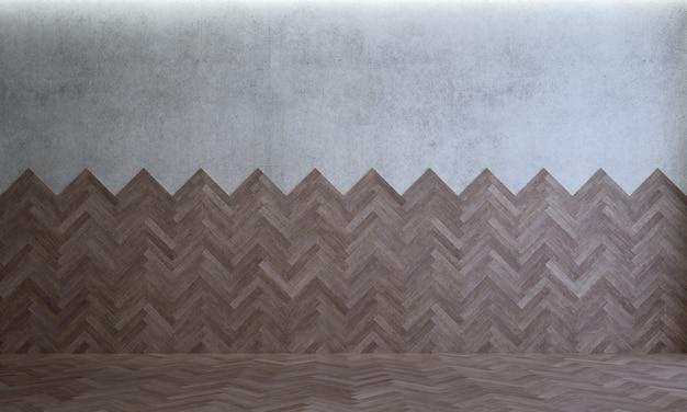 De mock up interieurdecoratie van moderne gezellige lege woonkamer en hout en betonnen muur achtergrond