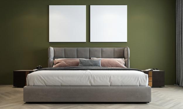 De mock up interieurdecoratie van moderne gezellige slaapkamer en lege groene muur achtergrond