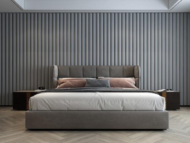 De mock up interieurdecoratie van moderne gezellige slaapkamer en wit patroon muur achtergrond