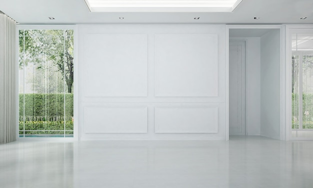 De mock up interieurdecoratie van moderne luxe en lege woonkamer en witte patroon muur achtergrond