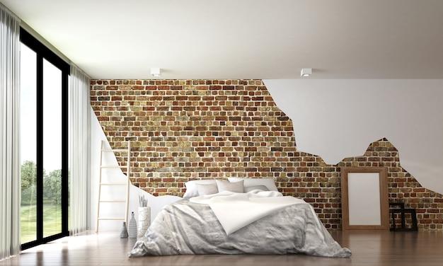 De mock up interieurdecoratie van moderne vliering slaapkamer en bakstenen muur achtergrond