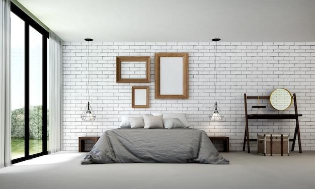 De mock up interieurdecoratie van moderne vliering slaapkamer en witte bakstenen muur achtergrond