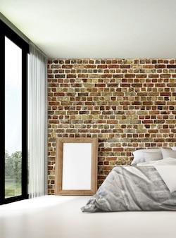 De mock up interieurdecoratie van slaapkamer op de vliering en bakstenen muur achtergrond