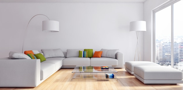 De moderne 3d woonkamer geeft terug