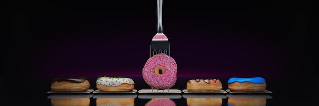 De moderne dieet donut met vork 3d-rendering