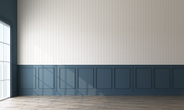 De moderne klassieke patroonmuur verfraait en het woodern vloer 3d teruggeven