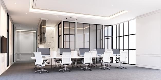 De moderne klassieke werkplaats van het stijlbureau met grijze tapijtvloer en het witte bureau 3d teruggeven