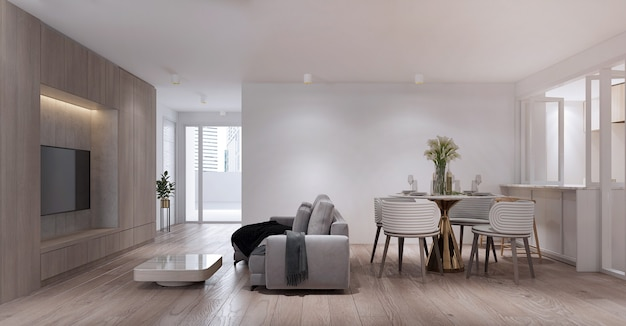 De moderne kleine woonkamer en eetkamer interieur appartement en condo