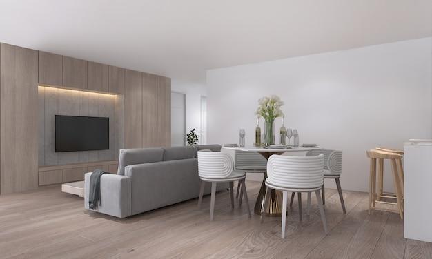 De moderne kleine woonkamer interieur design appartement en condo en eetkamer