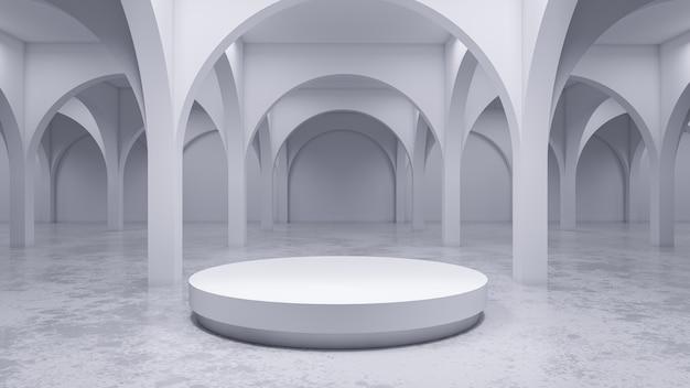 De moderne witte ruimte, met wit 3d stadium, geeft terug