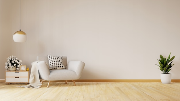 De moderne woonkamer met blauwe leunstoel heeft kabinet en houten planken op houten bevloering en witte muur, het 3d teruggeven