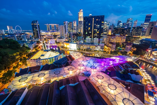 De mooie architectuur bouw buitenkant van singapore stad