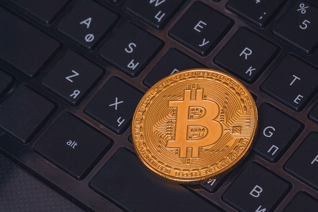 De mooie close-up van muntstukbitcoin btc