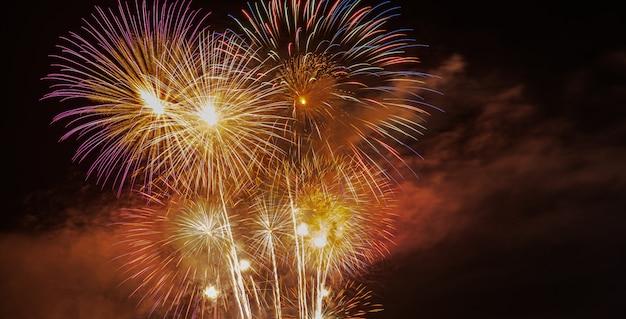 De mooie fonkeling steekt in de lucht aan van vuurwerk 's nachts