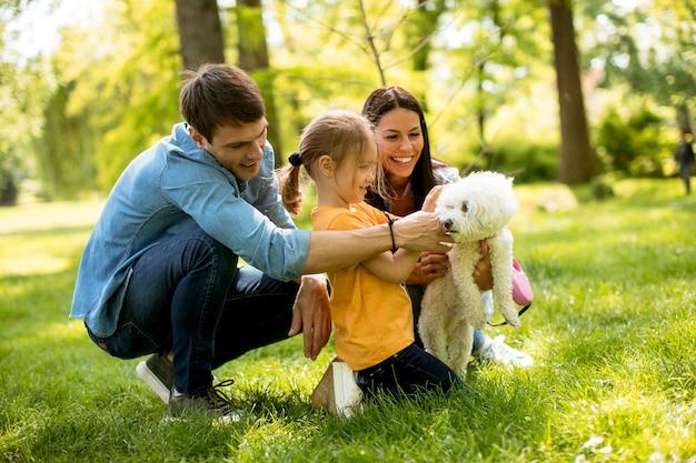 De mooie gelukkige familie heeft in openlucht pret met maltese hond