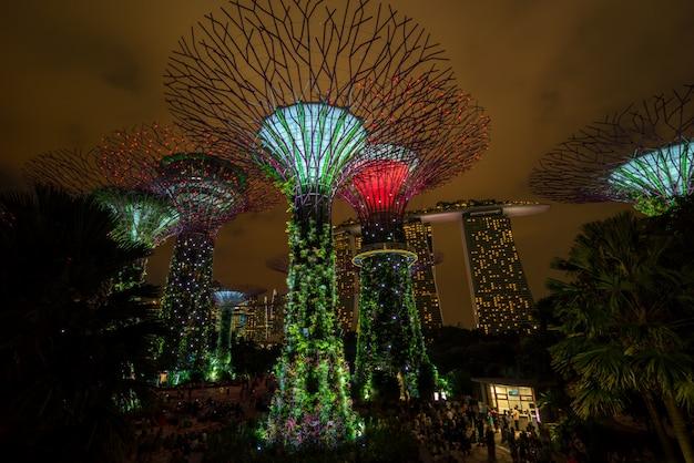 De nachthorizon van singapore bij tuinen door de baai