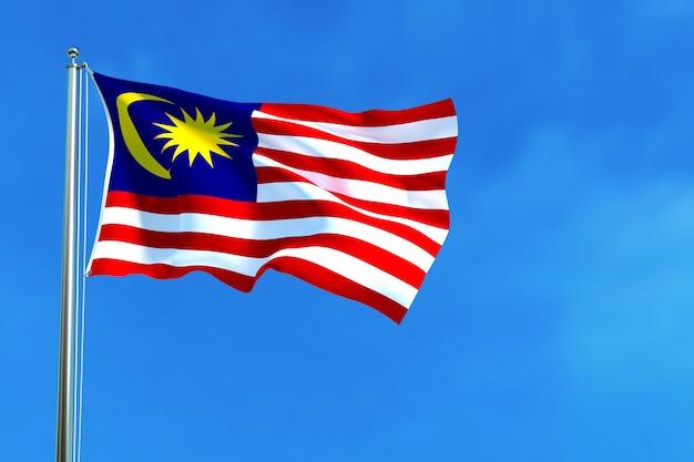 De nationale vlag van maleisië op de blauwe hemelachtergrond