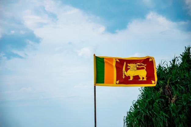 De nationale vlag van sri lanka die tegen blauwe bewolkte hemel met groene struik op de achtergrond vliegt. ruimte voor uw tekst