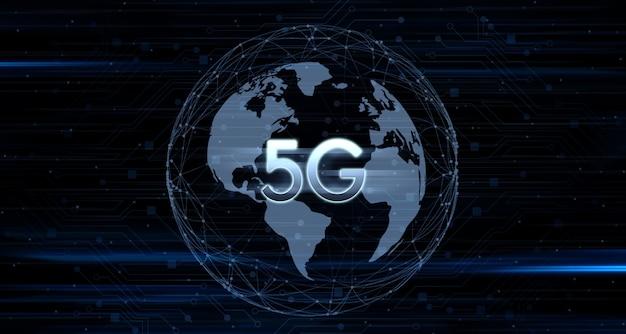 De nettostructuur van de aarde digitale netwerkcommunicatie 5g en het internet 5g draadloos netwerksysteem (internet of things)