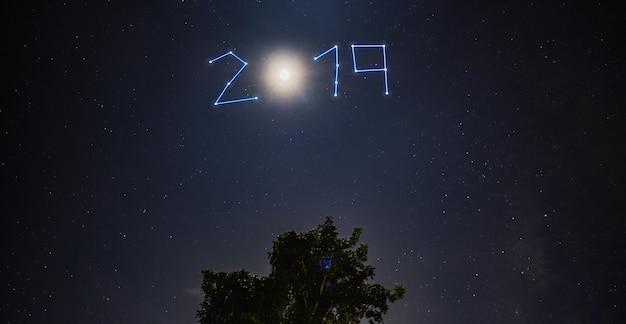 De nieuwe jaar 2019 ster en de maan glanzen over boom bij blauwe nacht