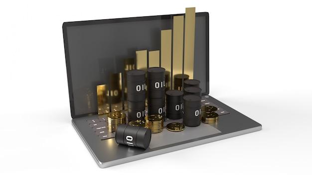 De olie bedankt en grafiek op laptop 3d-rendering voor aardolie-inhoud.