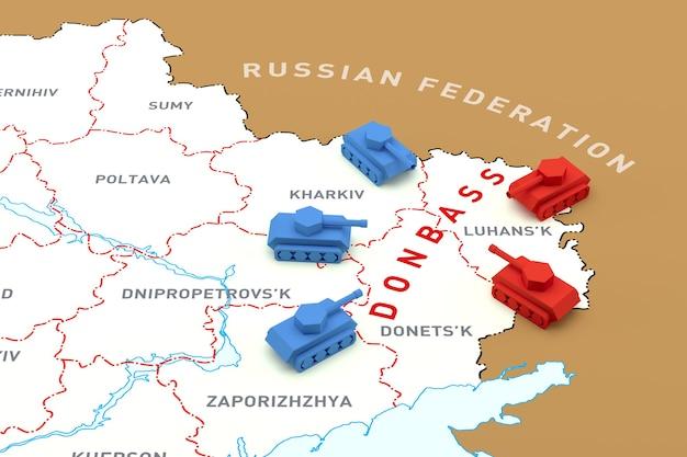 De ontmoeting van tanks op de kaart van oekraïne. 3d-rendering