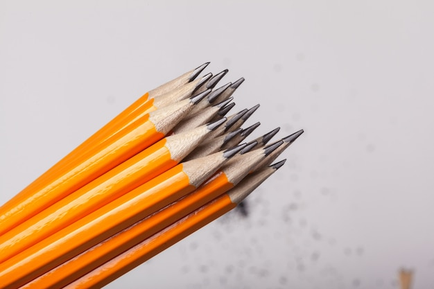 De oranje potloden sluiten omhoog geïsoleerd