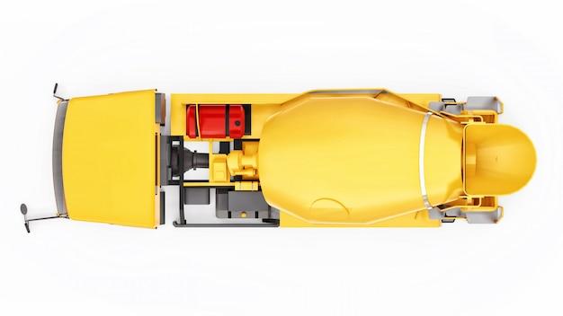 De oranje witte ruimte van de concrete mixervrachtwagen. driedimensionale illustratie van bouwmachines. 3d-weergave.