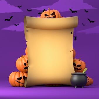De oude brief van halloween met pompoenen en vleermuizen