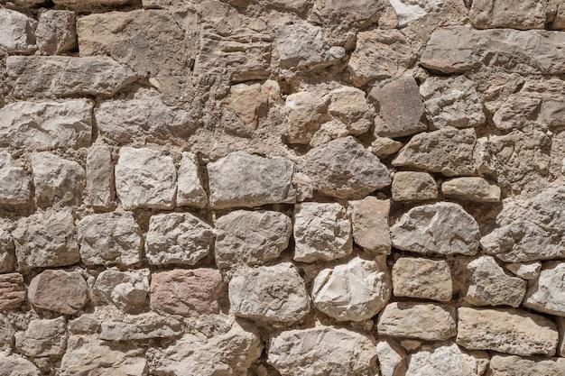 De oude stenen kasteel muur achtergrond. kasteel van loarre, aragon, spanje