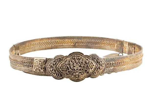 De oude thaise zilveren riem van het stijl uitstekende handwerk isoleert op witte achtergrond met het knippen van weg.
