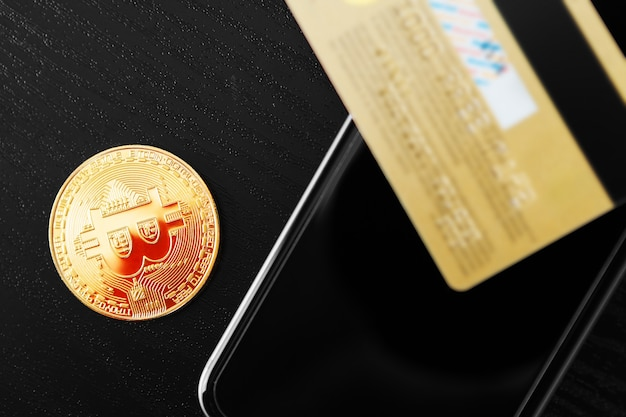 De overdracht van de dollar van de portefeuille naar bitcoin op de smartphone. blockchain.