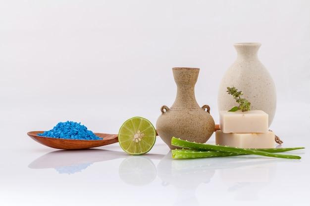 De overzeese zoute natuurlijke kuuroordingrediënten isoleren op witte achtergrond.