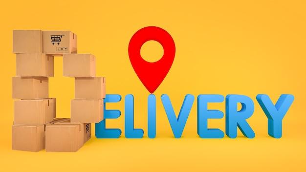 De papieren doos is gerangschikt in een d-vorm met een bezorgingslettertype en een rode speldwijzer