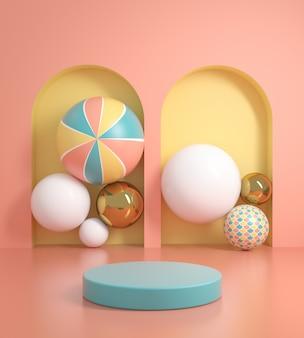 De pastelkleurvertoning van het modelplatform met abstracte 3d ballenachtergrond geeft terug