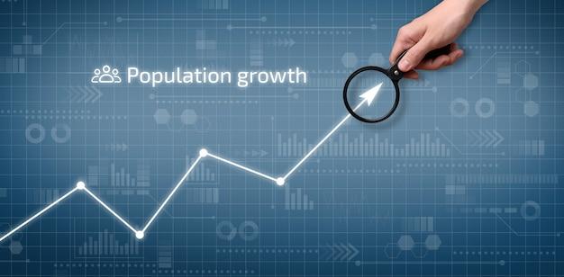 De persoon wijst naar de grafiek van de bevolkingsgroei op het grafische scherm.